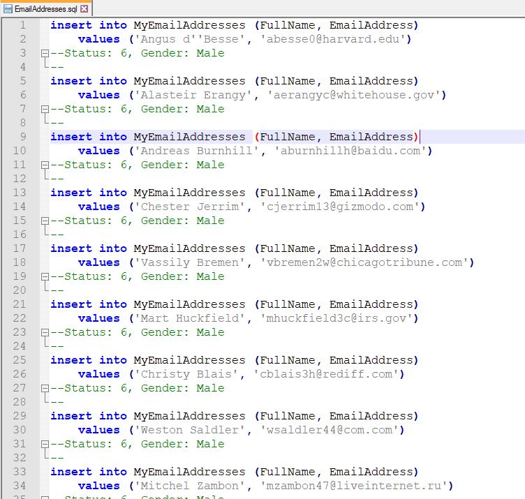 Generated SQL script in Notepad++