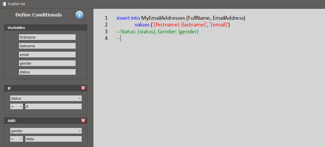 SQL Template Example