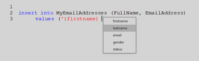 Insert variables into your template script